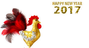 Happy New Year 2017 on the Chinese calendar of rooster template card. With hand made craft gold rooster and decorated text design polygonal font. Isolated on Stock Photography