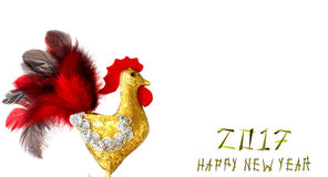 Happy New Year 2017 on the Chinese calendar of rooster template card. With hand made craft gold rooster and decorated text design font. Isolated on white Royalty Free Stock Photography
