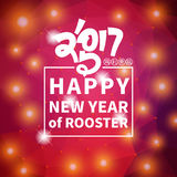 Happy new year 2017 and Chinese characters rooster Text Design. With red holiday background, Chinese meaning is: Year of the rooster., Happy New Year Royalty Free Stock Image