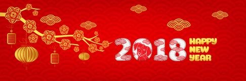 Happy new year 2018,Chinese new year greetings card, Year of dog royalty free illustration