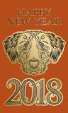 2018 Happy New Year of Chinese horoscope greeting card template with golden black patterned dog head and design elements.  Stock Photography