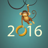 Happy New Year of Chinese Monkey Christmas Card royalty free stock image