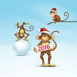 Happy New Year of Chinese Monkey Christmas Card. 2016 Happy New Year of the Chinese Calendar Monkey Christmas Card Vector Royalty Free Stock Image
