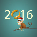 Happy New Year of Chinese Monkey Christmas Card. 2016 Happy New Year of the Chinese Calendar Monkey Christmas Card Vector Royalty Free Stock Photo