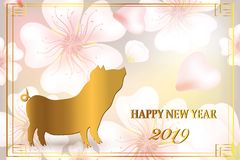 Happy new year 2019. Chinese new year, year of the pig stock illustration