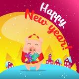 Pig in snow scene. Postcard stock illustration
