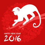 Happy new year chinese style with monkey and flower, vector Stock Images