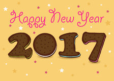 Happy New Year 2017. Chocolate cookies. Happy New Year 2017. Calendar template. Brown hand drawn symbols as chocolate cookies. Celebration background with vector illustration