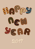 Happy New Year 2017. Chocolate Donuts stock photo