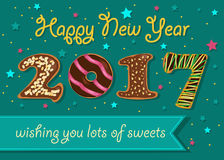 Happy New Year 2017. Chocolate donuts font. Happy New Year 2017. Wishing you lots of sweets. Chocolate donuts font. Celebration background with confetti stars Stock Photography