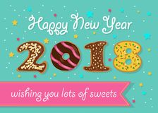 Happy New Year 2018. Chocolate donuts numerals royalty free stock image