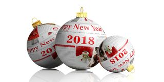 Newspaper on christmas balls isolated on white background. 3d illustration. Happy new year 2018. Christmas articles on christmas balls isolated on white Royalty Free Stock Photo