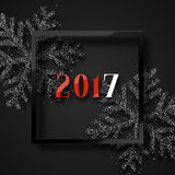 Happy New Year 2017. Christmas background, with beautiful bright snowflakes realistic shine glitter. In Framed calligraphy handmade. Merry Christmas poster Royalty Free Stock Image