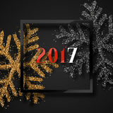 Happy New Year 2017. Christmas background, with beautiful bright snowflakes realistic shine glitter. In Framed calligraphy handmade. Merry Christmas poster Royalty Free Stock Photos