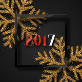 Happy New Year 2017. Christmas background, with beautiful bright snowflakes realistic shine glitter. In Framed calligraphy handmade. Merry Christmas poster Royalty Free Stock Photography