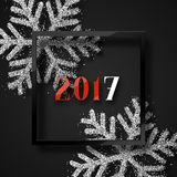 Happy New Year 2017. Christmas background, with beautiful bright snowflakes. Realistic shine glitter. In Framed calligraphy handmade. Merry Christmas poster Stock Photography