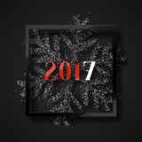 Happy New Year 2017. Christmas background, with beautiful bright snowflakes. Realistic shine glitter. In Framed calligraphy handmade. Merry Christmas poster Royalty Free Stock Image