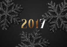 Happy New Year 2017. Christmas background, with beautiful bright snowflakes realistic shine glitter. Merry Christmas poster, greeting card. Xmas holidays Stock Image