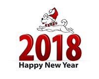 Happy new year 2018 christmas background with dog. Jumping on 3d red numbers vector illustration