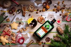 Happy new year or christmas background with Jagermeister aperiti. Happy new year or christmas background with Jagermeister alcohol drink, elixir. Winter food on royalty free stock photos