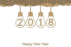 Happy New Year 2018. Or Christmas background, lightbulb hanging on sky isolated on white made from sackcloth - creative for your design vector illustration