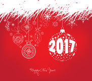 Happy new year 2017 and christmas background with ornament snowflakes.  Royalty Free Stock Photography