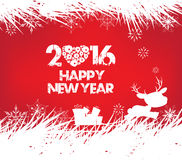 Happy new year 2016, christmas background with ornament snowflakes and deer.  Stock Photo