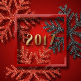 Happy New Year 2017. Christmas background red, with beautiful bright snowflakes realistic shine glitter. In Framed calligraphy handmade. Merry Christmas poster Stock Photos
