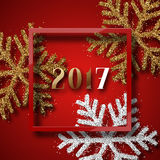 Happy New Year 2017. Christmas background red, with beautiful bright snowflakes realistic shine glitter. In Framed calligraphy handmade. Merry Christmas poster Royalty Free Stock Photos