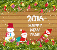Happy new year 2016, christmas background with snowman and santa claus on wood.  stock illustration