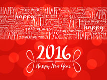 2016 Happy New Year. Christmas background word cloud. Holidays lettering collage Royalty Free Stock Image