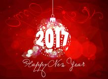Happy new year 2017 with christmas ball.  Stock Photos