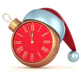 Happy New Year Christmas ball alarm clock bauble ornament decoration. Santa hat icon red gold. Wintertime traditional midnight future beginning symbol souvenir Royalty Free Stock Photography