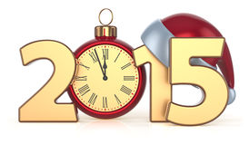 2015 Happy New Year Christmas ball alarm clock decoration Royalty Free Stock Image