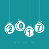Happy new year 2017 with christmas ball in blue illustration. Happy new year 2017 with christmas ball in blue color illustration Stock Image
