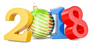 Happy New Year 2018 with Christmas ball, 3D rendering. Isolated on white background Royalty Free Stock Images