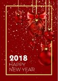 Happy New Year 2018 Christmas ball decoration snowfakes pattern vector golden background Stock Photos