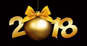 Happy new year christmas ball with golden ribbon bow Royalty Free Stock Images