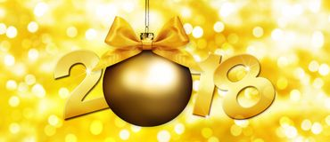 Happy new year christmas ball with golden ribbon bow and 2018 Royalty Free Stock Photos