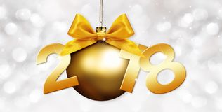 Happy new year christmas ball with golden ribbon bow and 2018 te Royalty Free Stock Images