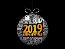Happy New Year 2019, Christmas ball royalty free stock photos