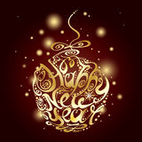Happy new year Christmas ball. Happy new year 2016. Holidays lettering with Christmas ball. Vector illustration Royalty Free Illustration