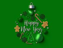 Happy New year Christmas ball ornament. 3d rendered illustration Stock Photos