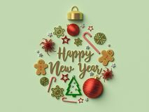 Happy New year Christmas ball ornament. 3d rendered illustration Royalty Free Stock Photography