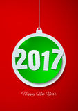 Happy New Year 2017 with Christmas Ball Paper Background Royalty Free Stock Images