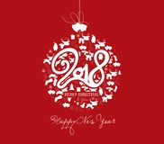 Happy new year 2018 and christmas ball postcard.  Stock Illustration