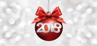 Happy new year christmas ball with red ribbon bow and 2018 text Stock Photos