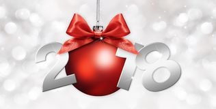 Happy new year christmas ball with red ribbon bow and 2018 text Stock Photo