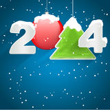 Happy New Year 2014. With Christmas ball and tree Stock Photography
