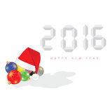 Happy new year 2016 with christmas ball vector. In colorful Royalty Free Stock Photography